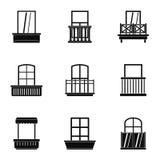 Sistema del icono del balcón de la casa, estilo simple libre illustration