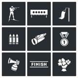 Sistema del icono del Biathlon Foto de archivo libre de regalías