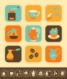 Sistema del icono del café Fotografía de archivo libre de regalías
