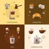 Sistema del icono del café y de la confitería Imágenes de archivo libres de regalías