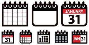 Sistema del icono del calendario Imagen de archivo libre de regalías