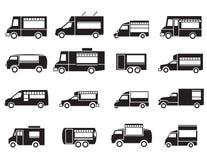 Sistema del icono del camión de la comida Imágenes de archivo libres de regalías