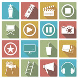 Sistema del icono del cine Ilustración del vector Imagen de archivo