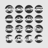 Sistema del icono del coche Imagenes de archivo