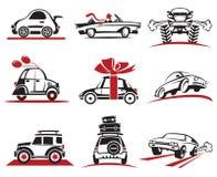 Sistema del icono del coche Fotografía de archivo