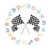 Sistema del icono del coche y el competir con a cuadros del motor de las banderas Imagen de archivo