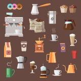Sistema del icono del color del café Imagen de archivo libre de regalías
