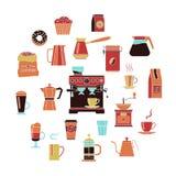 Sistema del icono del color del café stock de ilustración