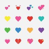 Sistema del icono del corazón Imágenes de archivo libres de regalías