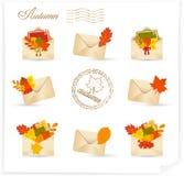 Sistema del icono del correo del otoño Foto de archivo libre de regalías