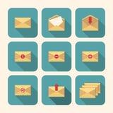 Sistema del icono del correo en diseño plano Foto de archivo libre de regalías