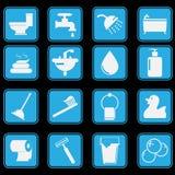 Sistema del icono del cuarto de baño Foto de archivo libre de regalías
