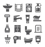 Sistema del icono del cuarto de baño Imágenes de archivo libres de regalías