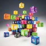 Sistema del icono del cubo Imagenes de archivo
