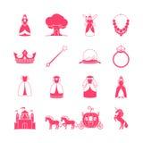 Sistema del icono del cuento de hadas de la princesa Imágenes de archivo libres de regalías