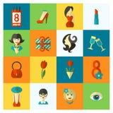 Sistema del icono del día de la mujer Fotografía de archivo libre de regalías