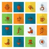 Sistema del icono del día de Patricks del santo Foto de archivo libre de regalías