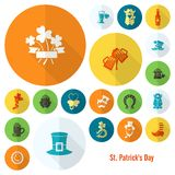 Sistema del icono del día de Patricks del santo Foto de archivo