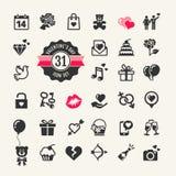 Sistema del icono del día de tarjetas del día de San Valentín libre illustration