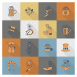 Sistema del icono del día de Patricks del santo Fotografía de archivo libre de regalías