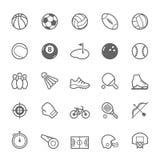Sistema del icono del deporte del movimiento del esquema Fotografía de archivo