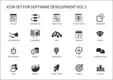 Sistema del icono del desarrollo de programas Vector los símbolos que se utilizarán para el desarrollo de programas y la tecnolog ilustración del vector