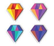 Sistema del icono del diamante Imágenes de archivo libres de regalías
