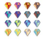 Sistema del icono del diamante Fotografía de archivo