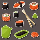 Sistema del icono del diverso sushi Fotos de archivo libres de regalías