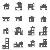 Sistema del icono del edificio Imagenes de archivo