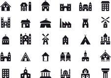 Sistema del icono del edificio stock de ilustración