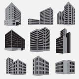 Sistema del icono del edificio Ilustración del vector Foto de archivo libre de regalías