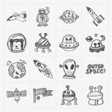 Sistema del icono del elemento del espacio del garabato Imagen de archivo libre de regalías