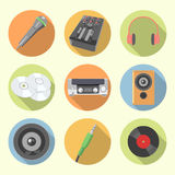 Sistema del icono del equipo de audio stock de ilustración
