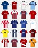 Sistema del icono del equipo del fútbol o plantilla del jersey del fútbol para el club del fútbol Vector Fotos de archivo