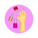 Sistema del icono del esmalte de uñas y de la mano con la manicura en círculo Foto de archivo