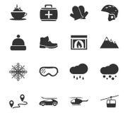 Sistema del icono del esquí Imágenes de archivo libres de regalías