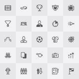 Sistema del icono del fútbol/del fútbol Línea vector del arte Foto de archivo