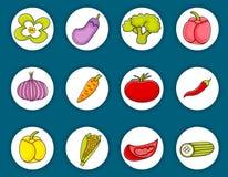 Sistema del icono del garabato de la historieta de las verduras Foto de archivo libre de regalías