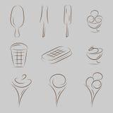 Sistema del icono del helado Foto de archivo