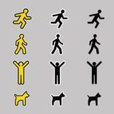 Sistema del icono del hombre y del perro Fotografía de archivo