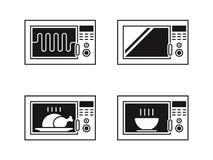 Sistema del icono del horno de microondas ilustración del vector