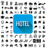 Sistema del icono del hotel Imagenes de archivo