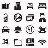 Sistema del icono del hotel Fotografía de archivo