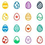 Sistema del icono del icono coloreado del día de fiesta de los huevos de Pascua Fotos de archivo