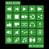 Sistema del icono del jugador de música Fotos de archivo libres de regalías