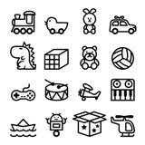 Sistema del icono del juguete del esquema Fotografía de archivo