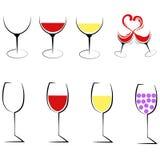 Sistema del icono del logotipo de ocho copas de vino Imagenes de archivo
