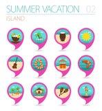 Sistema del icono del mapa del perno de la playa de la isla Verano Vacaciones Fotos de archivo libres de regalías