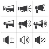 Sistema del icono del megáfono stock de ilustración